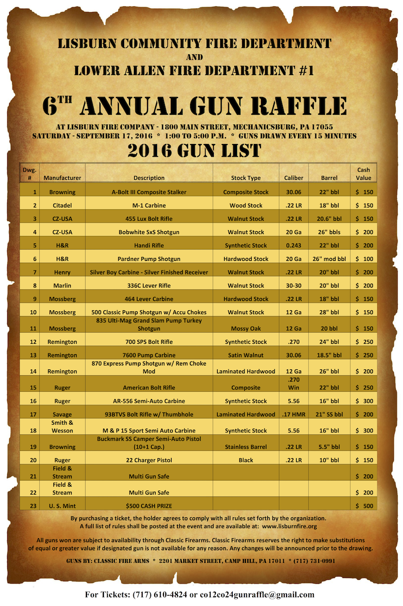 tickets on for sixth annual gun raffle lisburn community be raffled every 15 minutes you do not need to be present to win